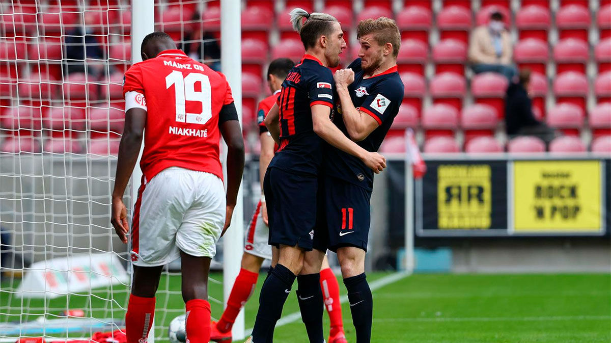 Manita del Leipzig al Mainz 05 con un hat-trick de Werner
