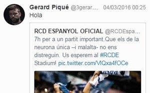 El mensaje de Gerard Piqué en Twitter tras el Rayo - Barça