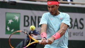 Rafa Nadal durante su debut en Roland Garros.