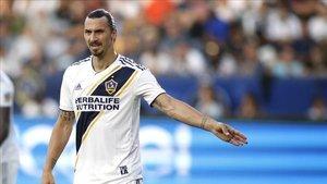 Zlatan Ibrahimovic en un partido con Los Angeles Galaxy