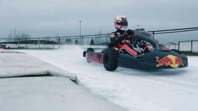Verstappen y Gasly se divierten en los karts sobre hielo