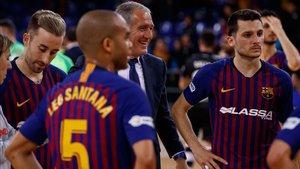 El Barça Lassa celebró la sufrida victoria ante el Palma Futsal