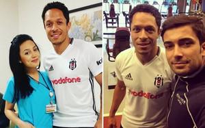 Dos imágenes subidas a Twitter por seguidores y empelados del Besiktas posando junto a Adriano Correia