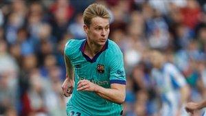 Frenkie de Jong no daba crédito al penalti escamoteado al FC Barcelona ante la Real Sociedad