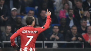 Griezmann festejó el tanto con su L habitual