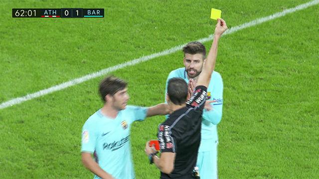 LALIGA | Athletic - FC Barcelona (0-2): Piqué vio la amarilla y está apercibido de suspensión
