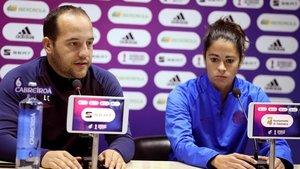 Lluís Cortés y Marta Torrejón, en la rueda de prensa previa a la final