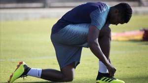 Malcom, durante un entrenamiento con el Barça