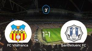 Reparto de puntos entre el Vilafranca y el Santfeliuenc, el marcador final fue de 1-1