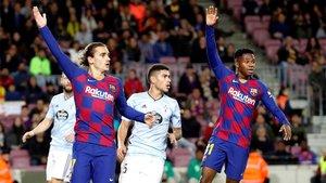 Antoine Griezmann y Ansu Fati en el Barça-Celta de la Liga 2019/20