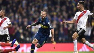 Benedetto celebra el gol con el que abrió el marcador