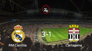 El RM Castilla comienza con fuerza los cuartos de final de los playoff tras ganar 3-1 al Cartagena en el partido de ida