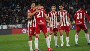 Jugadores del Almería, en una imagen de archivo
