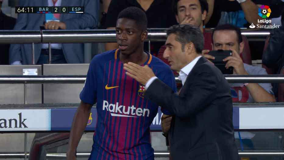 LALIGA | Barça-Espanyol (5-0): Dembélé debutó con el FC Barcelona
