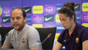 Lluís Cortés y Marta Torrejón, en la previa de Champions