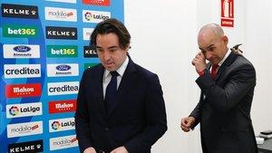 Martín Presa, durante la presentación de Paco Jémez como nuevo entrenador del Rayo Vallecano.