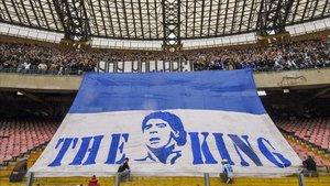 Pancarta dedicada a Maradona en San Paolo en 2007