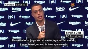 La promesa de Dest a Messi: Voy a correr lo que haga falta por él