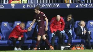 Sergi Roberto fue sustituido ante el Málaga por un fuerte golpe
