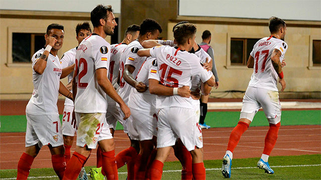 El Sevilla se deshace del Qarabag con tres golazos en Bakú