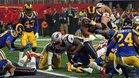 Sony Michel anotando el único touchdown de la final