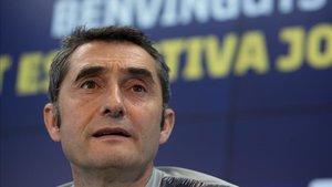 Valverde, en la sala de prensa de la Ciutat Esportiva