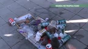 Así ha quedado la placa de Courtois en el Wanda Metropolitano