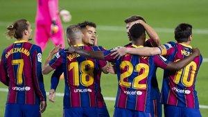 El Barça celebró cuatro goles, todos ellos en la primera mitad