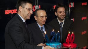 Bartomeu, Moll y Folch festejaron los aniversarios del Barça y SPORT