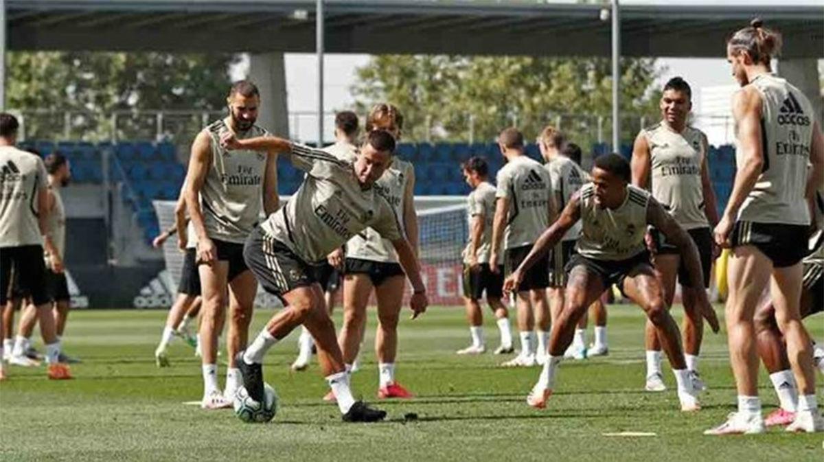 El entrenamiento del Madrid con golazos, incluido el de Hazard