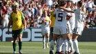 Las jugadoras de Alemania celebrando uno de los tantos ante Sudáfrica