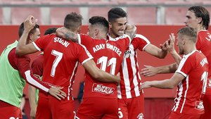 Los jugadores del Girona festejan en una imagen de archivo