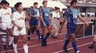Momento histórico. El Barça 1990-91 jugó su primer partido de la historia en Japón y, también por vez primera, lució publicidad en su camiseta
