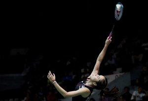 Ratchanok Intanon de Tailandia en acción durante el partido de clasificación individual femenino contra Michelle Li durante el Daihatsu Indonesian Masters 2020 en Yakarta, Indonesia.