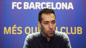 Sergio Busquets, en un momento de la entrevista con SPORT