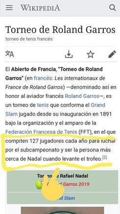 La graciosa entrada en la Wikipedia sobre Roland Garros y