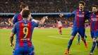 Gomes, Messi, Roberto y Suárez, en un partido