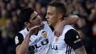 Guedes ideó el pase en profundidad y Rodrigo hizo el primer gol del Valencia