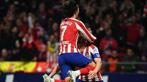 Joao Félix celebró por todo lo alto el gol que anotó ante el Villarreal