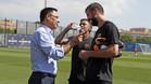 Josep Maria Bartomeu, Neymar y Gerard Piqué en la Ciudad Deportiva Joan Gamper del Barça el pasado 16 de julio