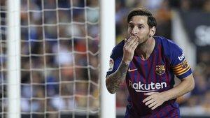 Leo Messi celebra uno de sus goles con el FC Barcelona