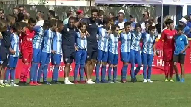 Los alevines del Málaga dieron una lección de no a la violencia con sus propios padres
