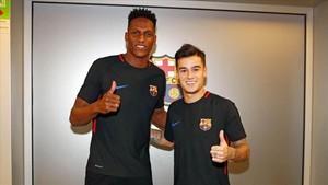 Mina y Coutinho, en la Ciutat Esportiva