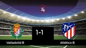 Reparto de puntos entre el Valladolid B y el Atlético B, el marcador final fue 1-1