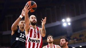 Spanoulis, estrella de Olympiacos, en el encuentro contra el Real Madrid