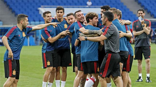 Último entrenamiento de la selección antes de debutar en el Mundial