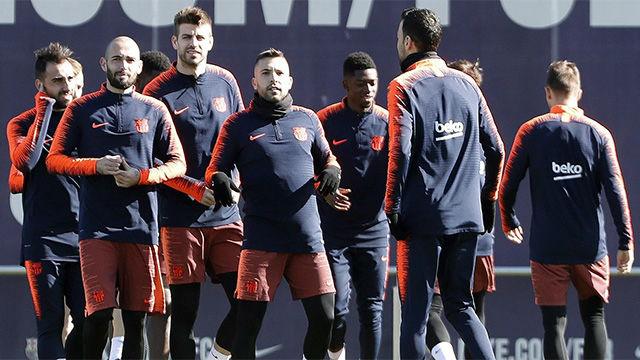 El Barça se entrenó por última vez antes del jugar contra el Atlético