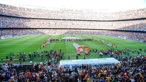 El Camp Nou en los prolegómenos del Barça-Arsenal del Trofeo Joasn Gamper de la temporada 2019/20