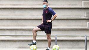 García Pimienta, en una imagen del entrenamiento de este miércoles