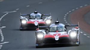Los dos Toyota durante los entrenamientos libres de Le Mans